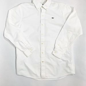 VINEYARD VINES White Cotton Oxford Whale Shirt